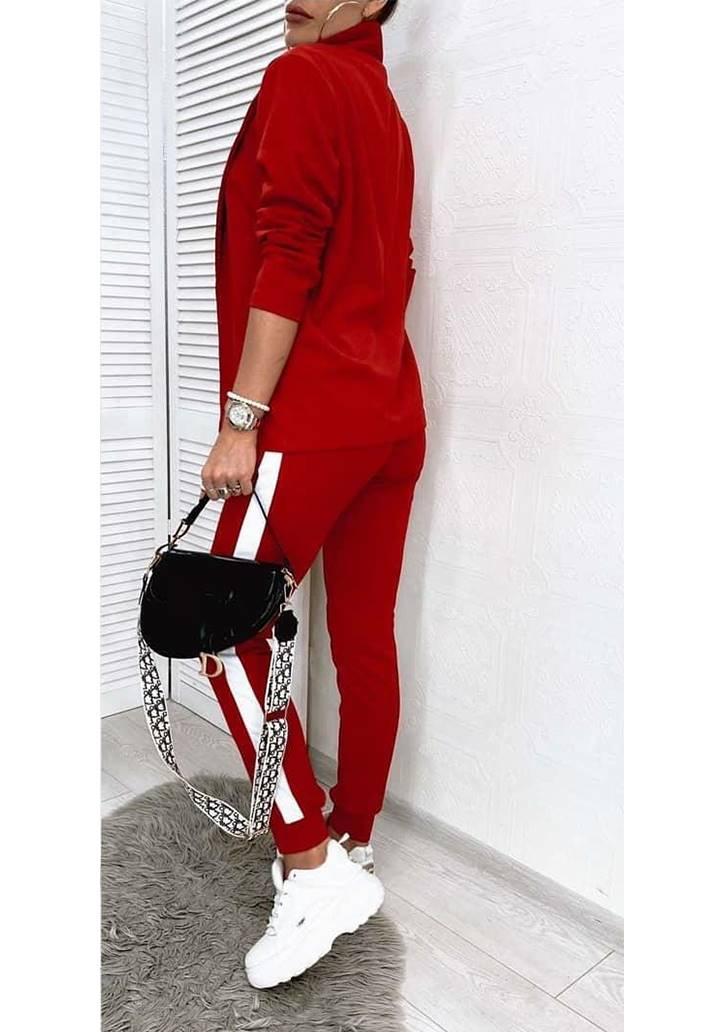 Ceket Pantolon Şeritli İkili Takım (Kırmızı) - 3