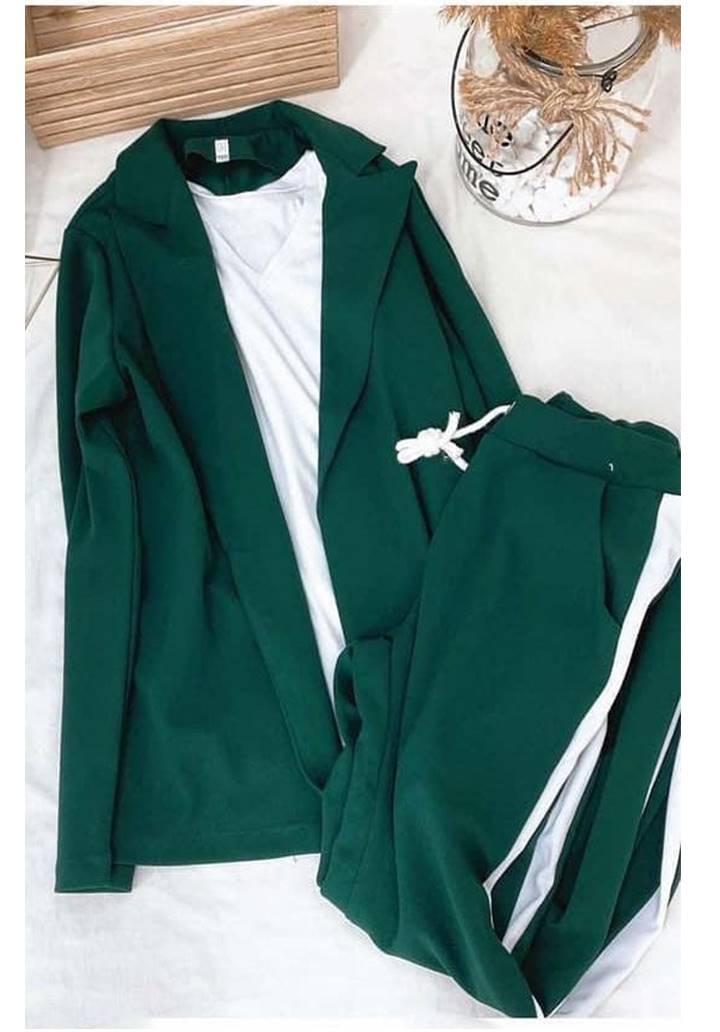 Ceket Pantolon Şeritli İkili Takım (Yeşil) - 3