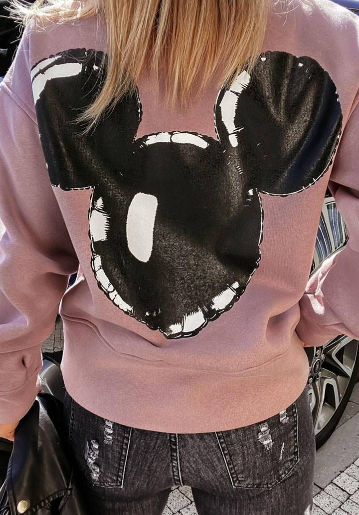 Mickey mouse baskı pudra sweatshırt - 2