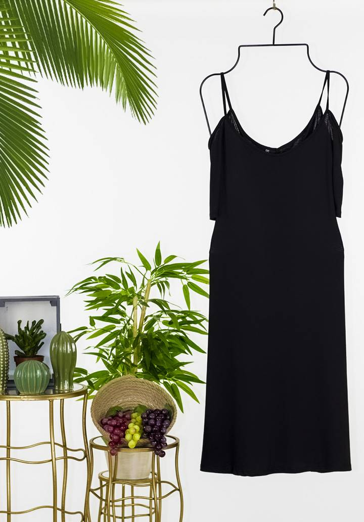 Siyah omuz dekolteli fakir kol salaş elbise - 3