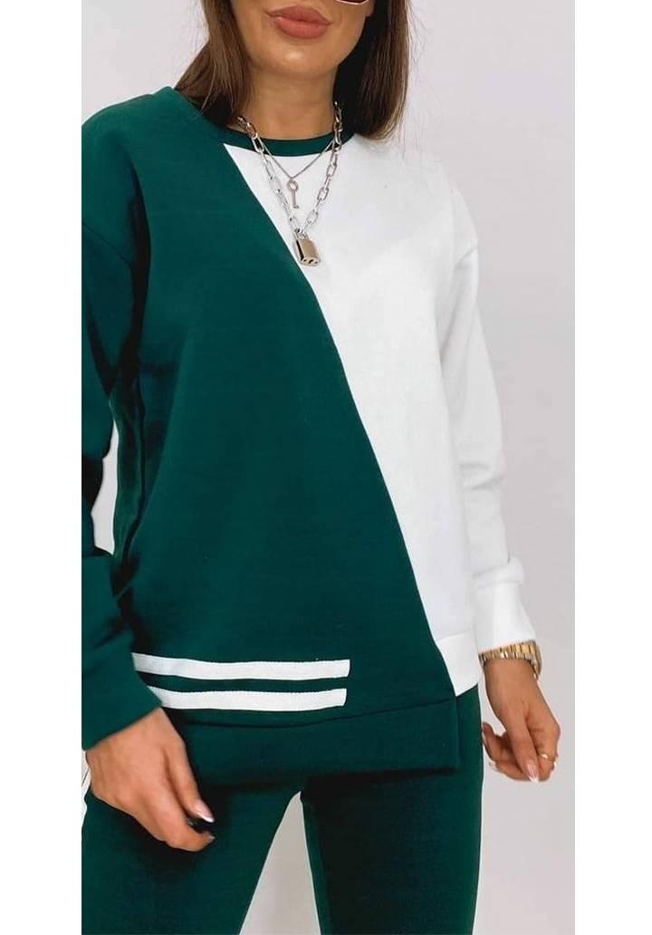 Beyaz Garnili Şeritli Eşofman Takım (Yeşil) - 2