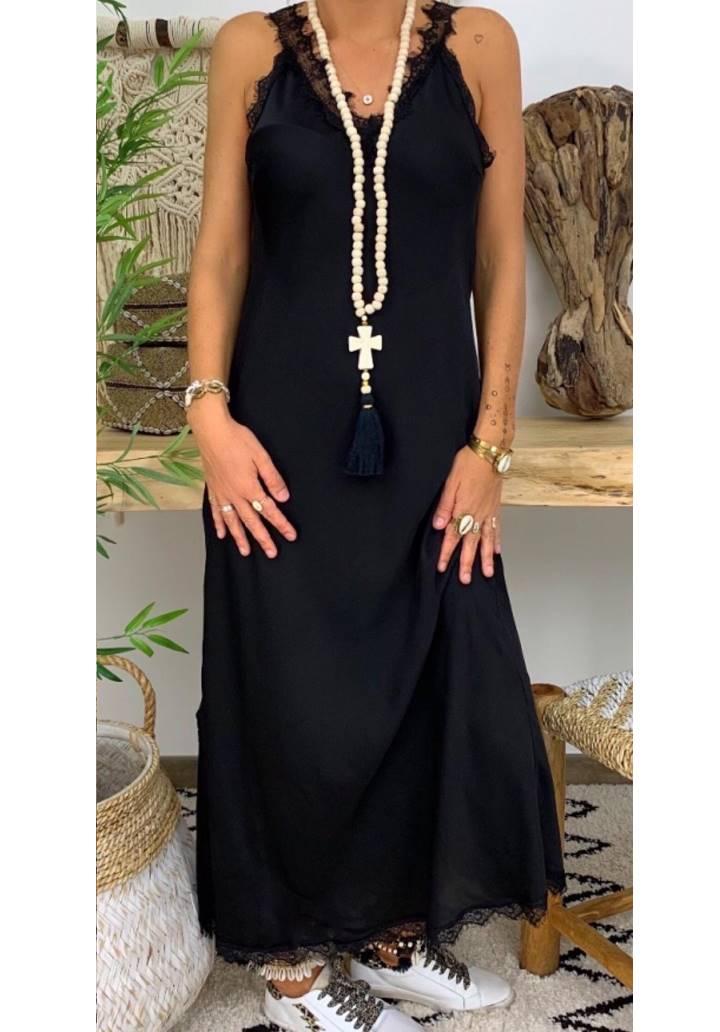 Ön arka V yaka gupur detay yırtmaçlı elbise - 2