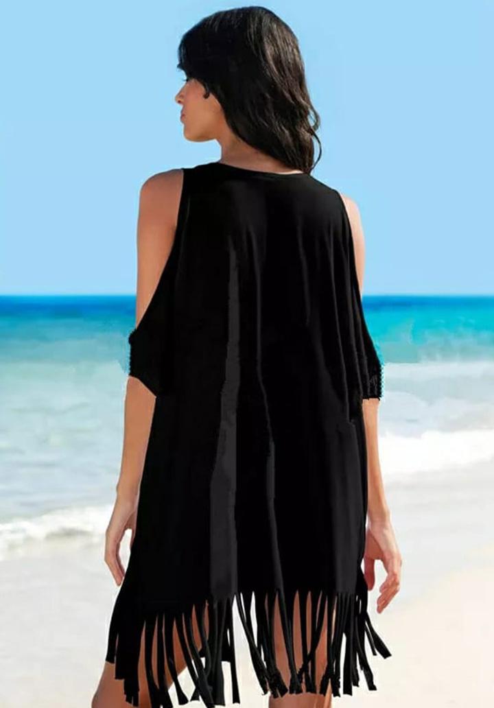 Omuz Dekolteli Saçaklı Tunik-Elbise (Siyah) - 2