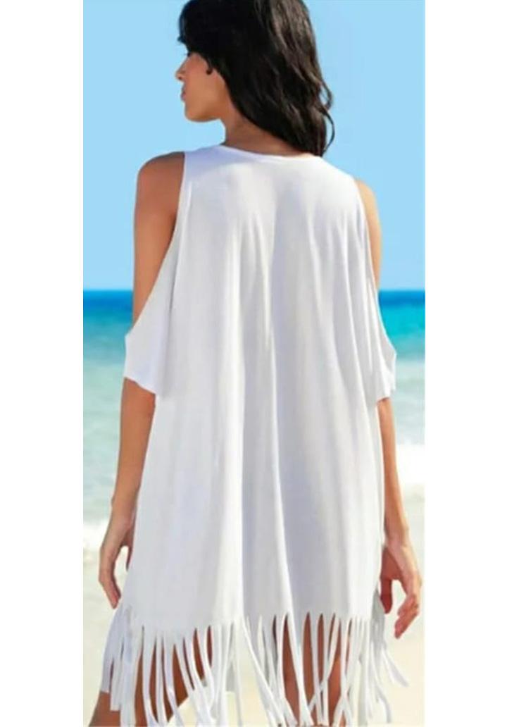 Omuz Dekolteli Saçaklı Tunik-Elbise (Beyaz) - 2