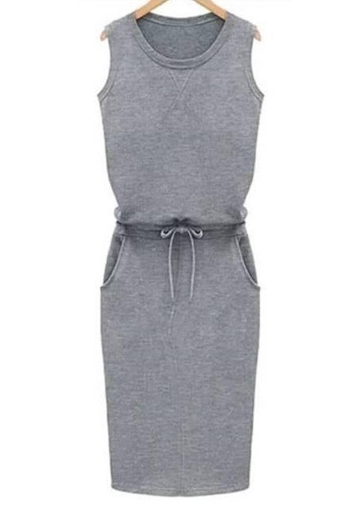 Beli bağcıklı cepli kolsuz spor elbise - 2