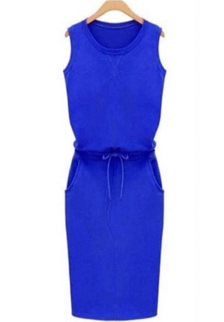 Beli bağcıklı cepli kolsuz spor elbise(sax) - 2