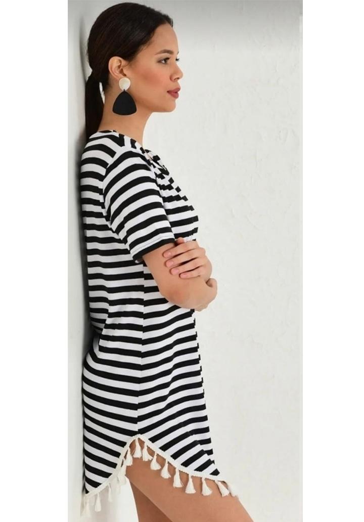 Eteği Saçaklı Çizgili Mini Elbise-Tunik - 2