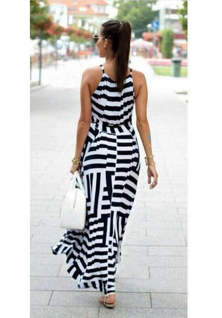 Zebra Desen Maxı Boy Elbise (Siyah) - 2