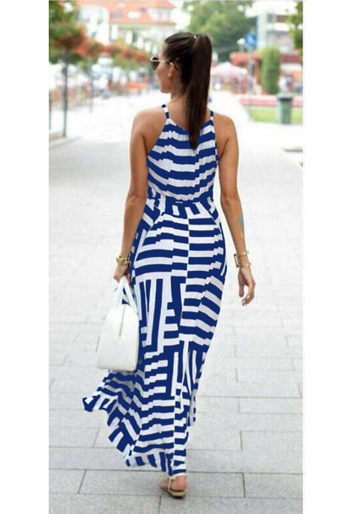 Zebra Desen Maxı Boy Elbise (Mavi) - 2
