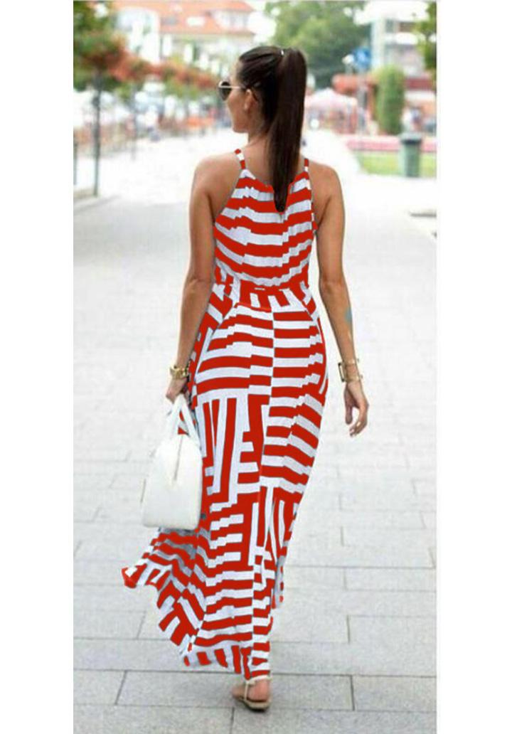 Zebra Desen Maxı Boy Elbise (Kırmızı) - 2