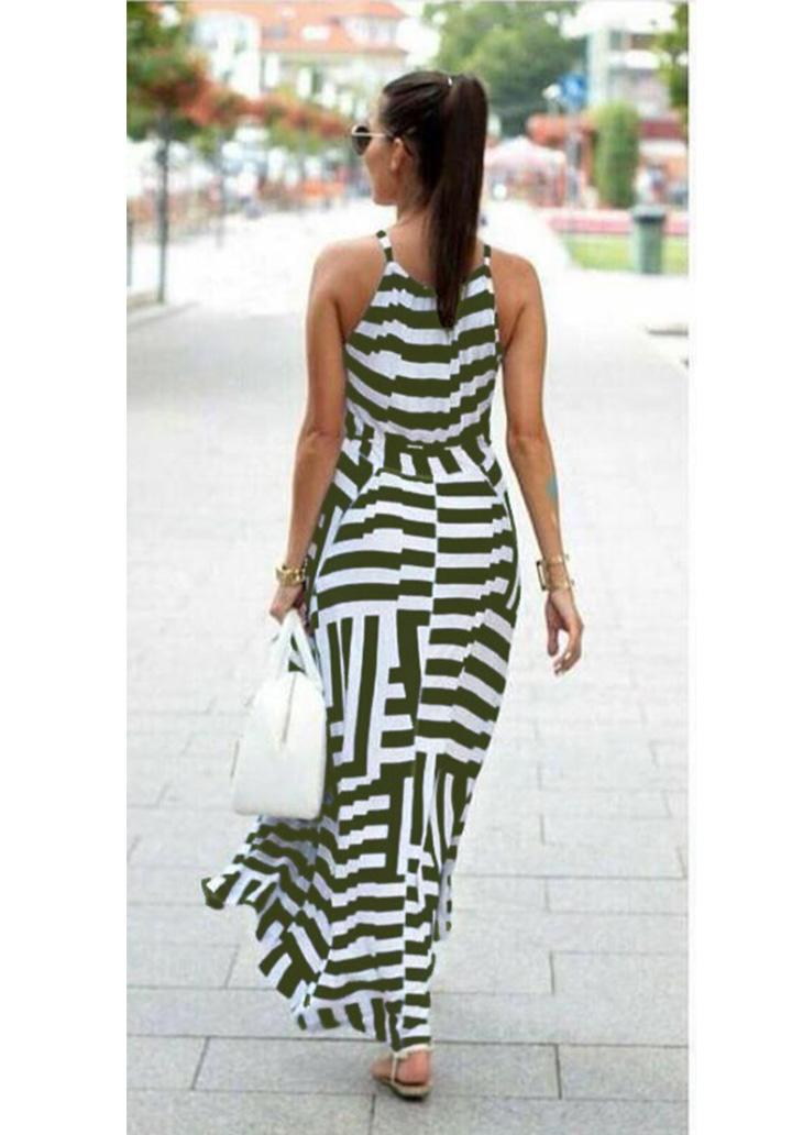 Zebra Desen Maxı Boy Elbise (Yeşil) - 2