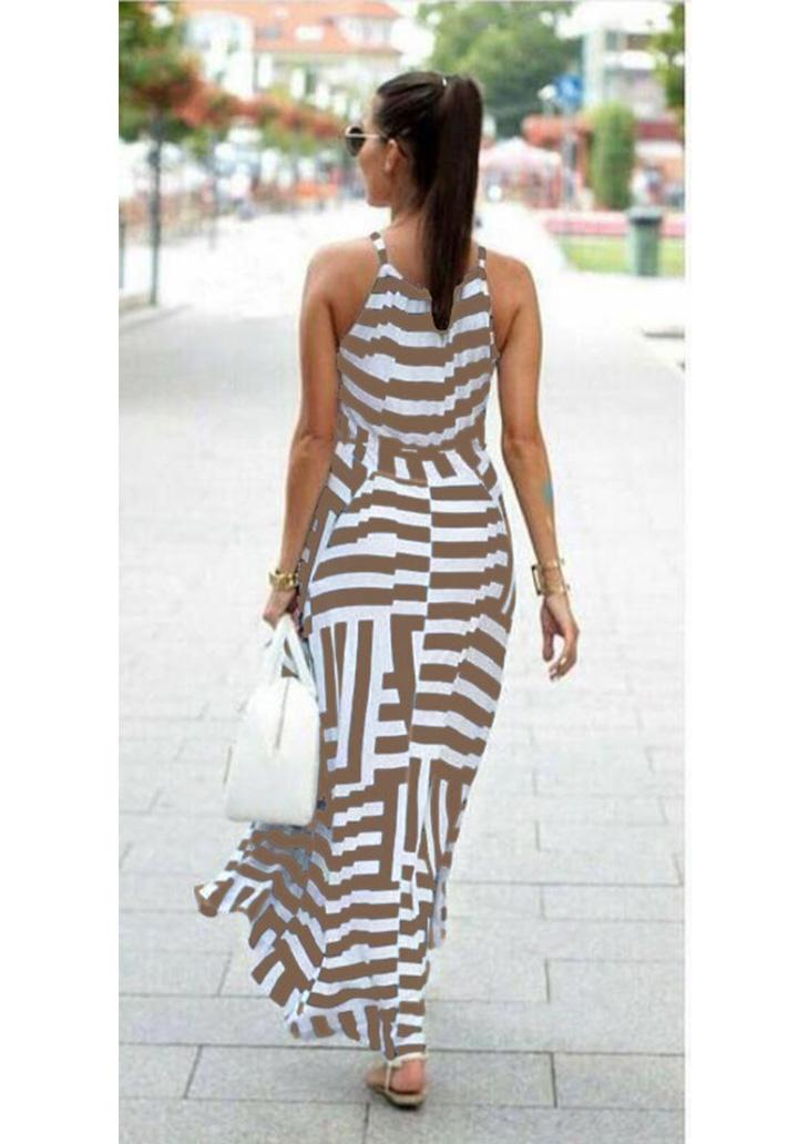 Zebra Desen Maxı Boy Elbise (Vizon) - 2