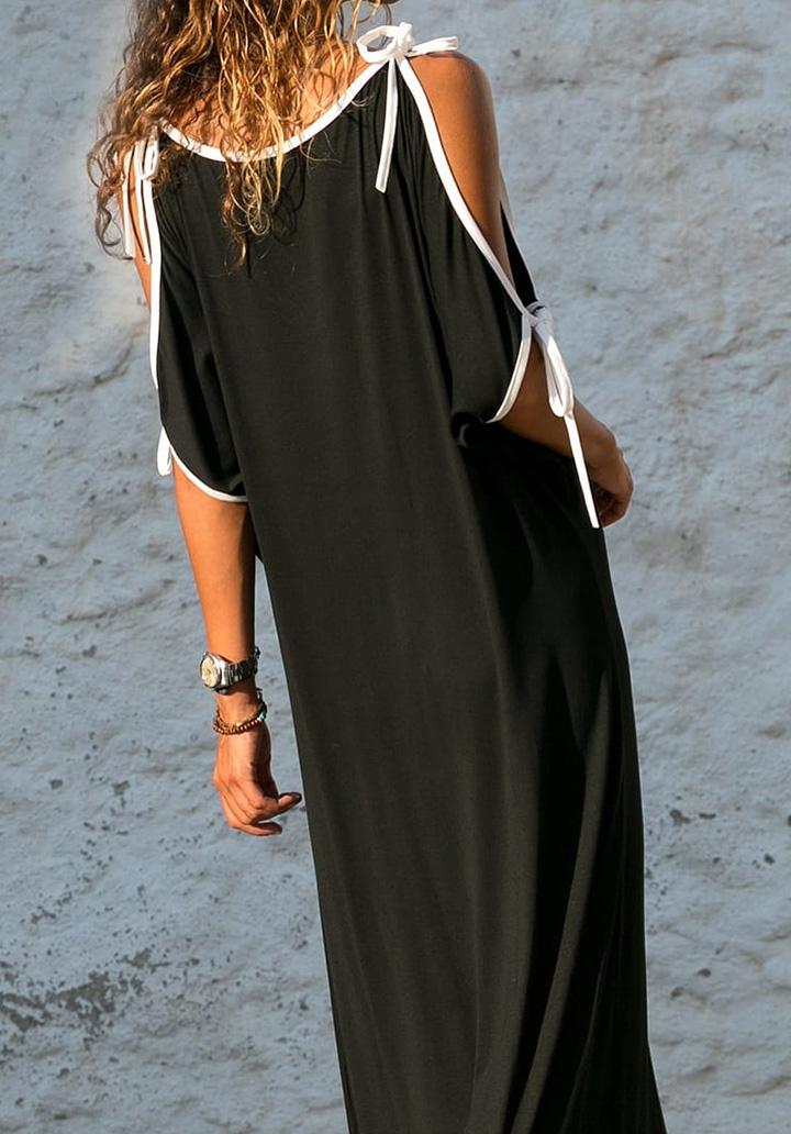 V Yaka Omuz Dekolteli Salaş Elbise - 2