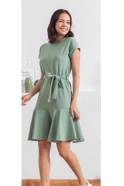 Kuşaklı yeni sezon örme crep elbise(yeşil) - 2