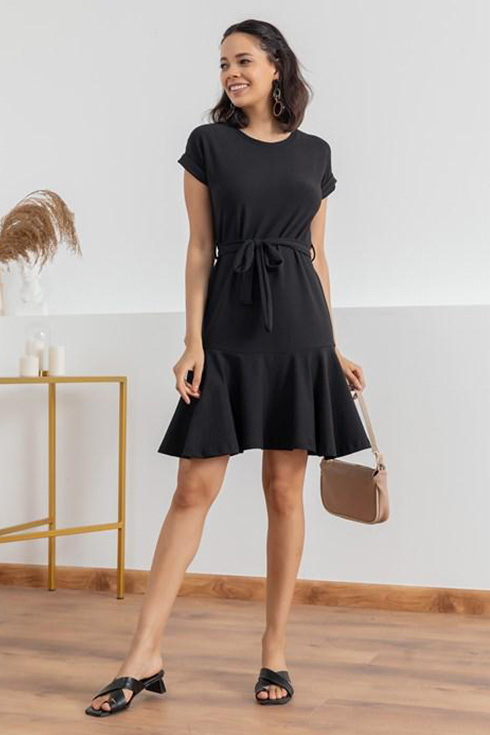 Kuşaklı yeni sezon örme crep elbise(siyah) - 2