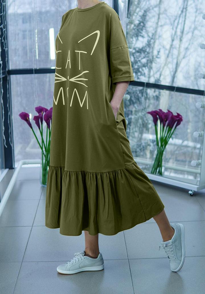 Eteği Volanlı Cat Mom Baskı Midi Boy Elbise - 2