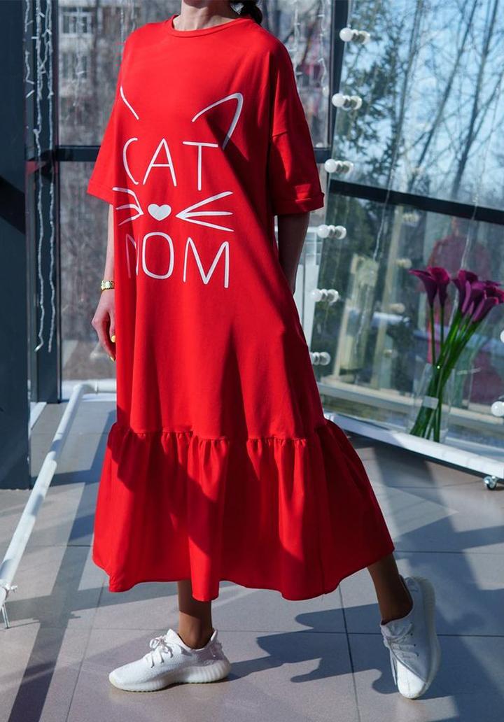 Eteği Volanlı Cat Mom Baskı Midi Boy Elbise (Kırmızı) - 2