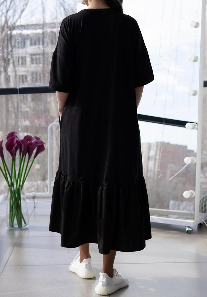 Eteği Volanlı Cat Mom Baskı Midi Boy Elbise (Siyah) - 2