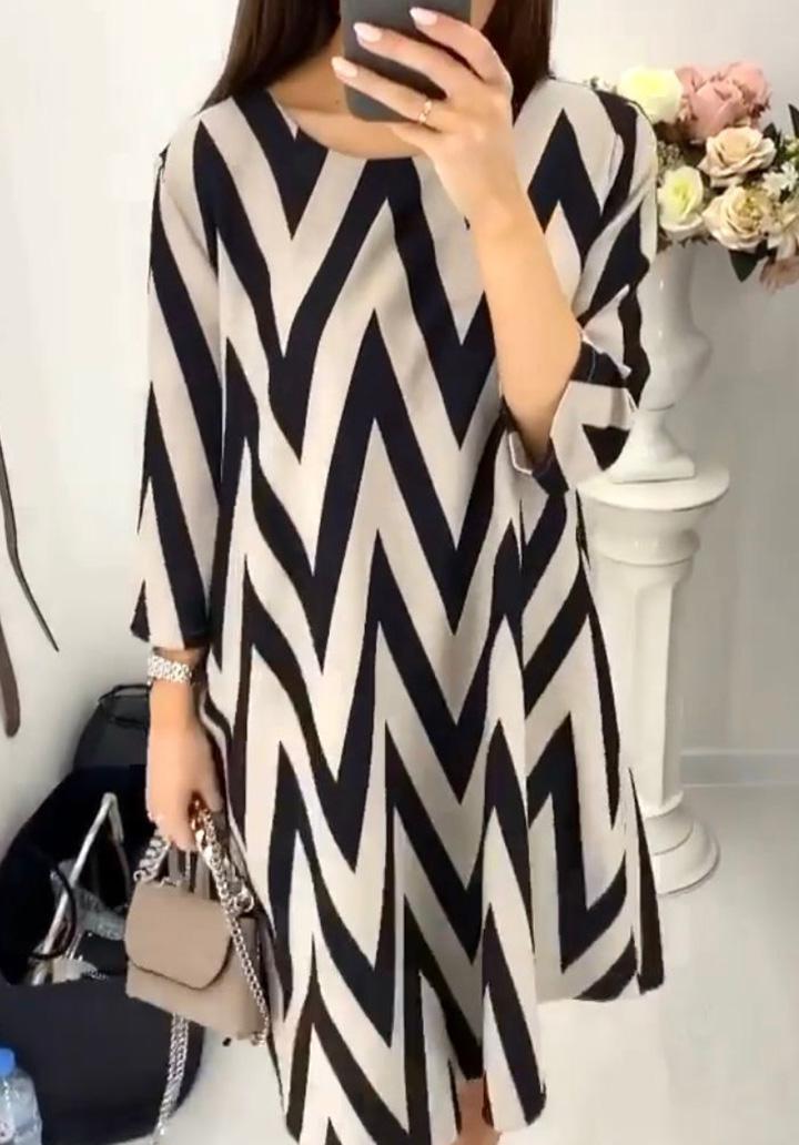 Desenli Zara Örme Crep Elbise - 2
