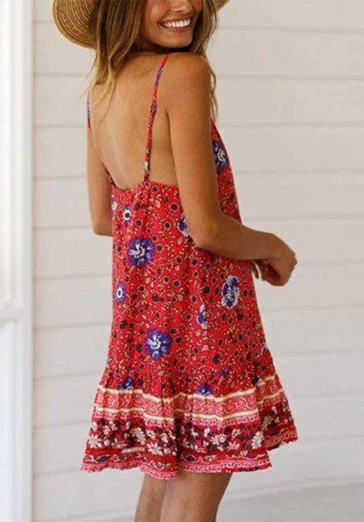 İp Askılı Eteği  Kloş Mini Elbise - 2