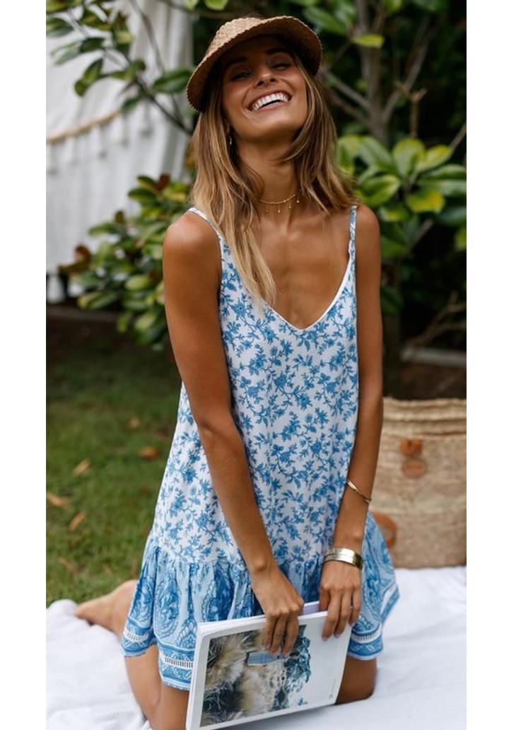 İp Askılı Eteği  Kloş Mavi Elbise - 2