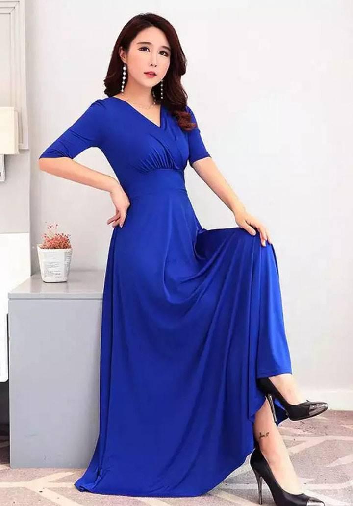 Kruvaze yaka maxı boy elbise(sax) - 2