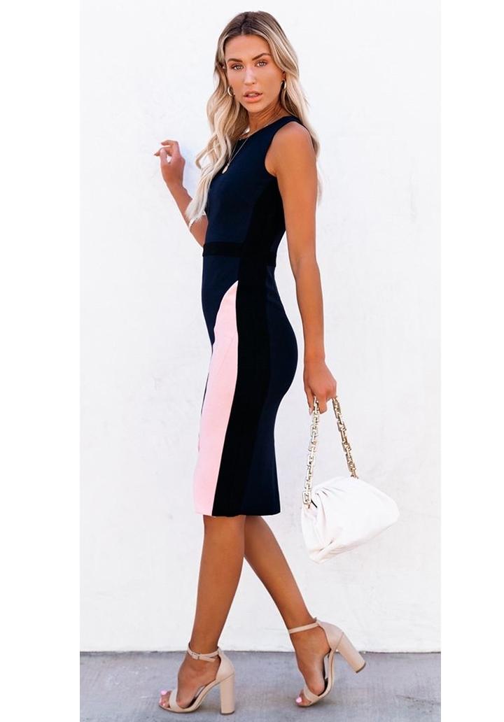 Kolsuz Yırtmaçlı Parça Detay Kalem Elbise - 2
