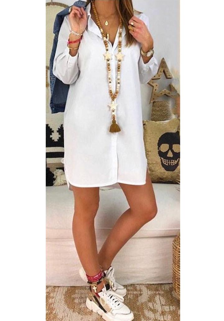 Ekru love tasarım gömlek elbise - 2