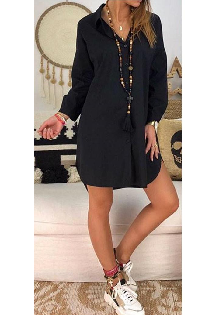 Siyah love tasarım gömlek elbise - 2