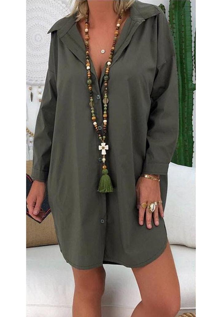 Haki love tasarım gömlek elbise-tunik - 2