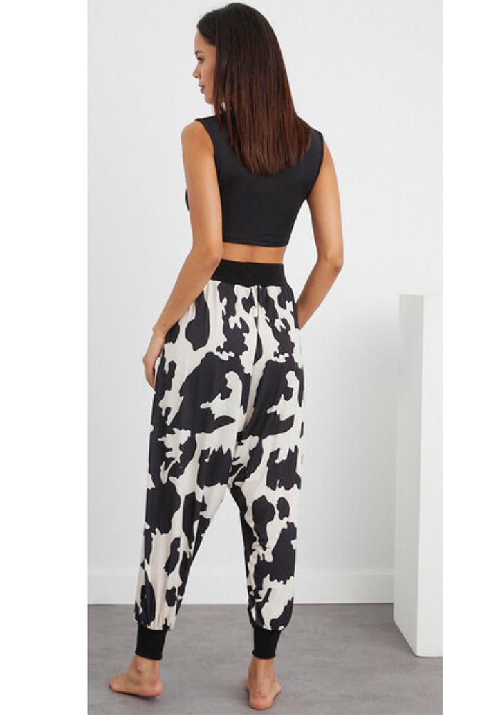 Siyah-Beyaz Şalvar Pantolon - 3