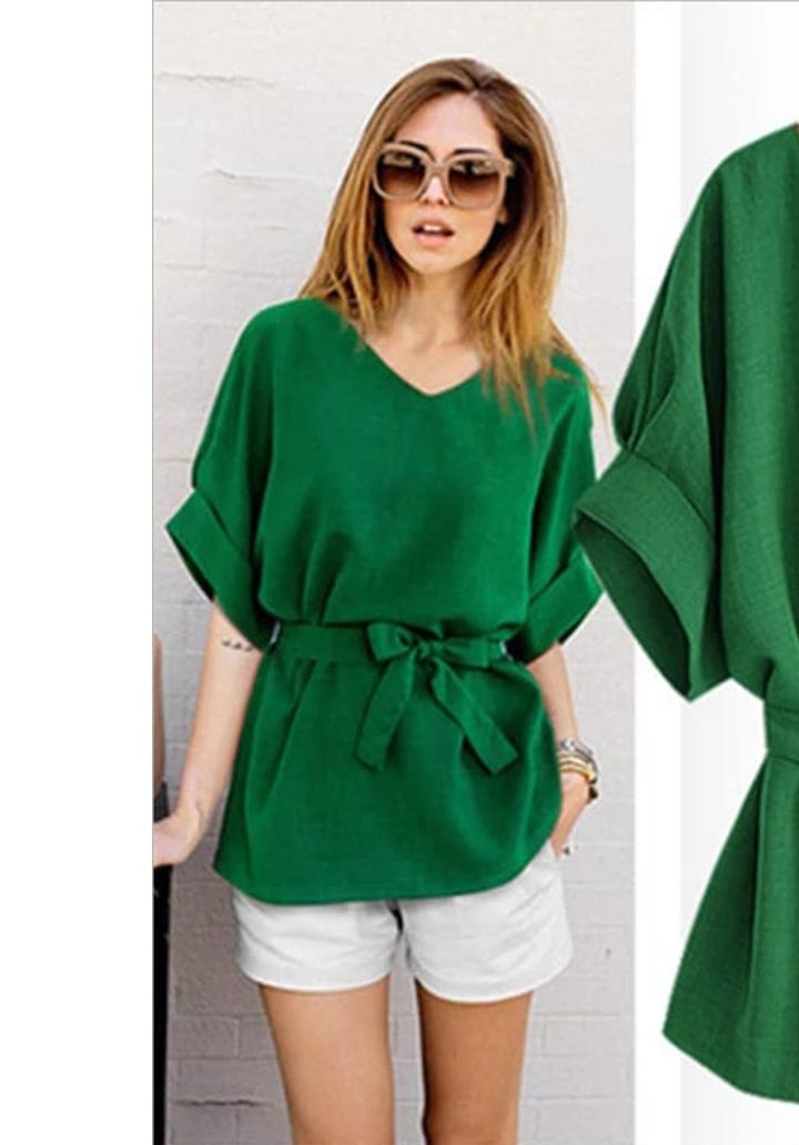 Duble Kol V Yaka Airobin Bluz (Yeşil) - 2