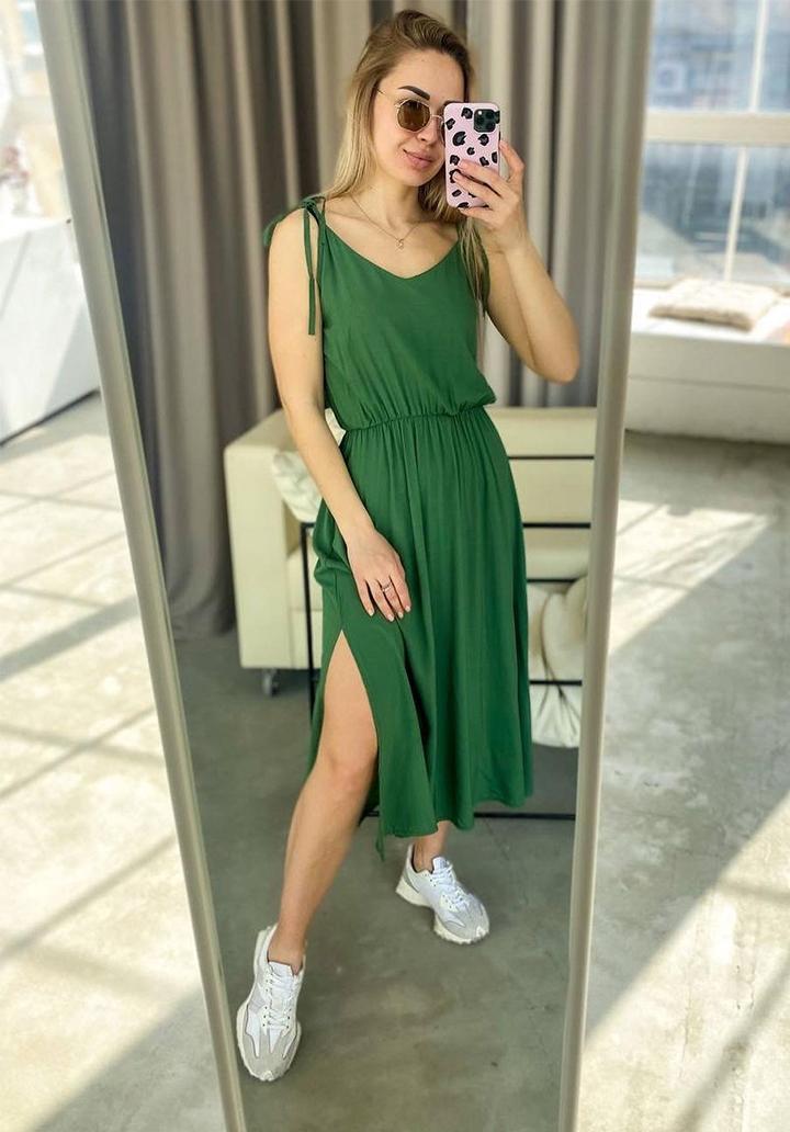 Askı Detay Beli Lastikli Midi Boy Elbise (Koyu Yeşil) - 2