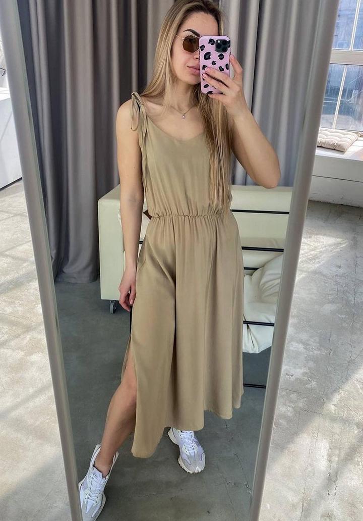 Askı Detay Beli Lastikli Midi Boy Elbise (Vizon) - 2