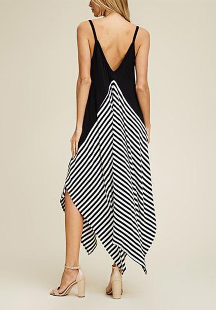 İp Askılı Siyah Garnili Asimetrik Kesim Elbise - 2