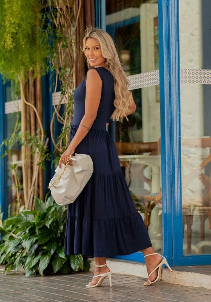 Yaka Detay Kolsuz Süprem Elbise (Lacivert) - 2