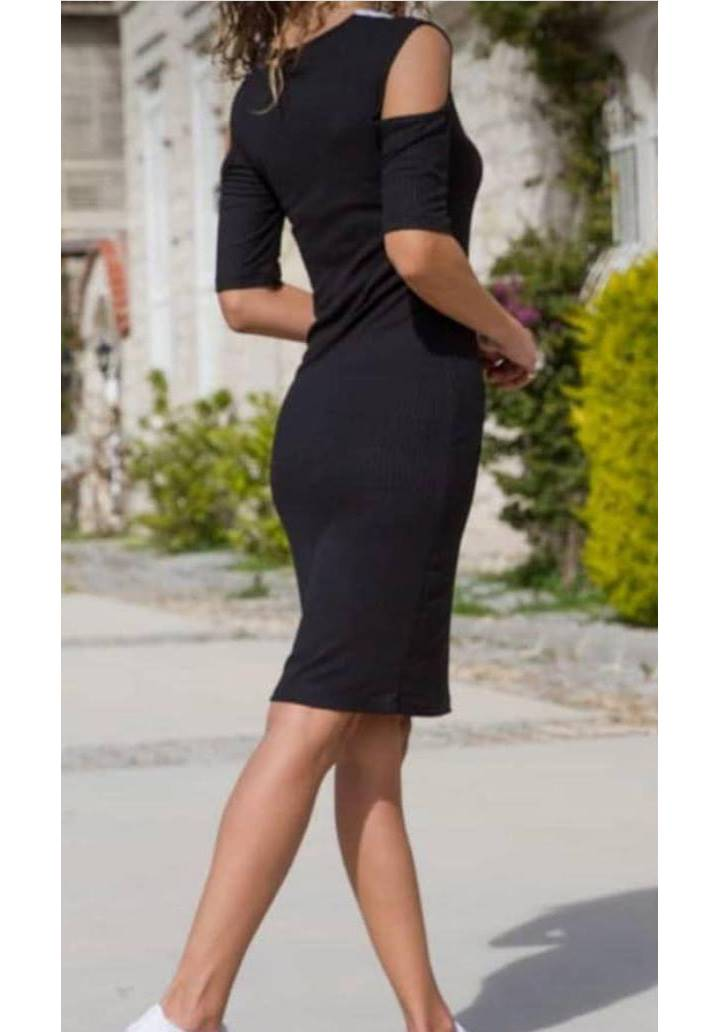 Omuz dekoteli kaşkorse kalem elbise - 2