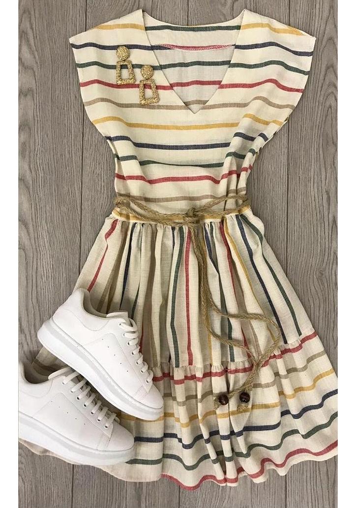 Çizgili V Yaka Eteği Kloş Elbise - 3