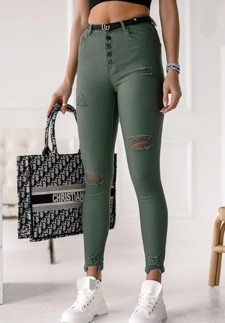 Düğmeli Yırtık Detay Yüksek Bel Pantolon - 3