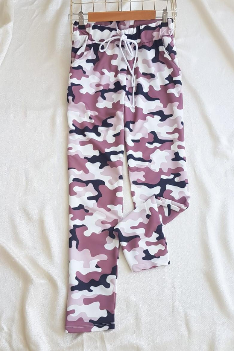 Kamuflaj Desen Çift İplik Kumaş Pantolon  - 3