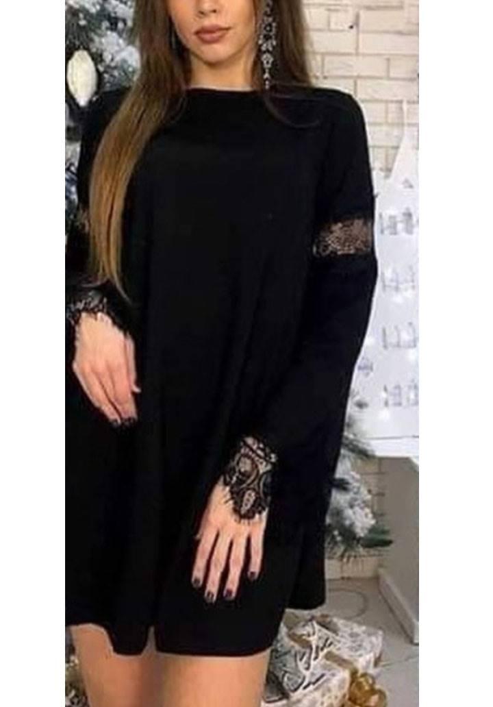 Kolları Dantel Detaylı Kloş Elbise(siyah) - 3