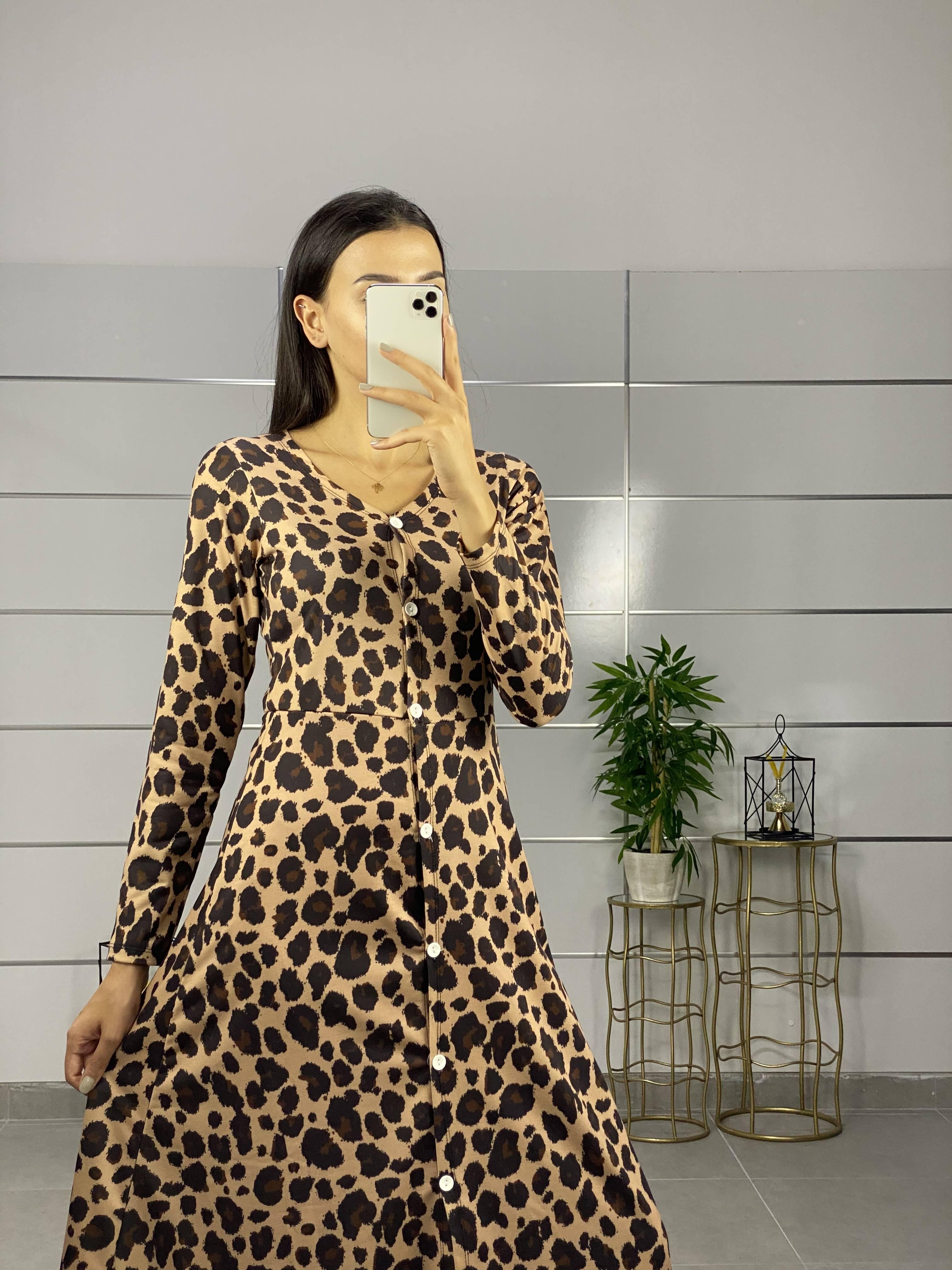 Leopar Desen Maxı Boy Gömlek Elbise(vizon) - 3