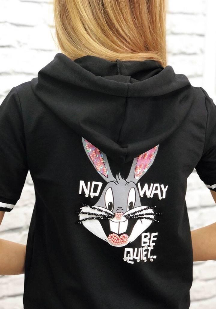 Bags bunny kapşonlu payet detay eşofman takımı(siyah) - 3