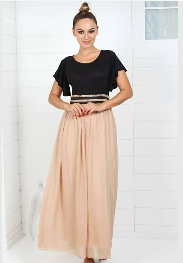 Eteği vizon beli lastikli tasarım elbise - 3