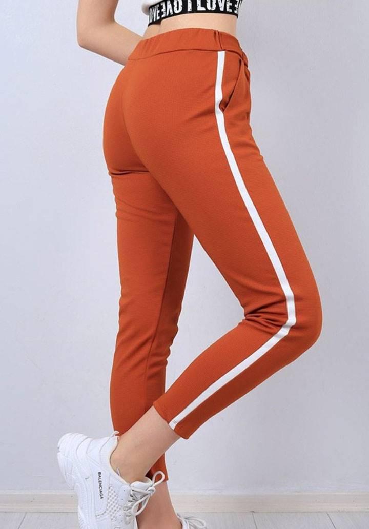 Şeritli cepli yeni sezon pantalon(kiremit) - 3