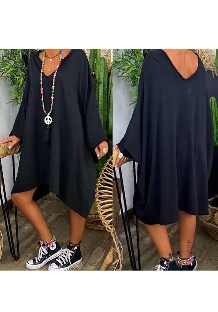 Ön arka V yaka yarasa kol salaş elbise(siyah) - 3