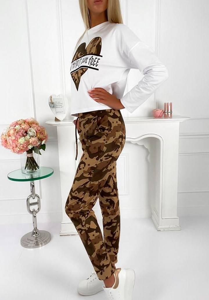Kamuflaj desen pantolon bluz ikili takım(kahve) - 3