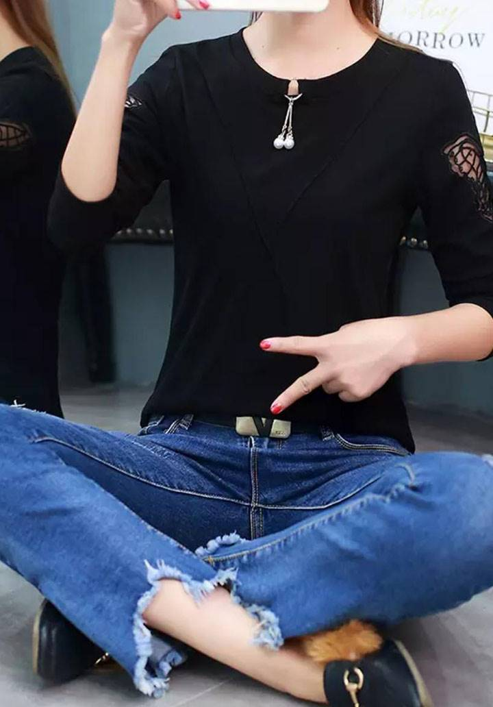 Kolları kelebek nakış işleme inci aksesuarlı bluz(siyah) - 3