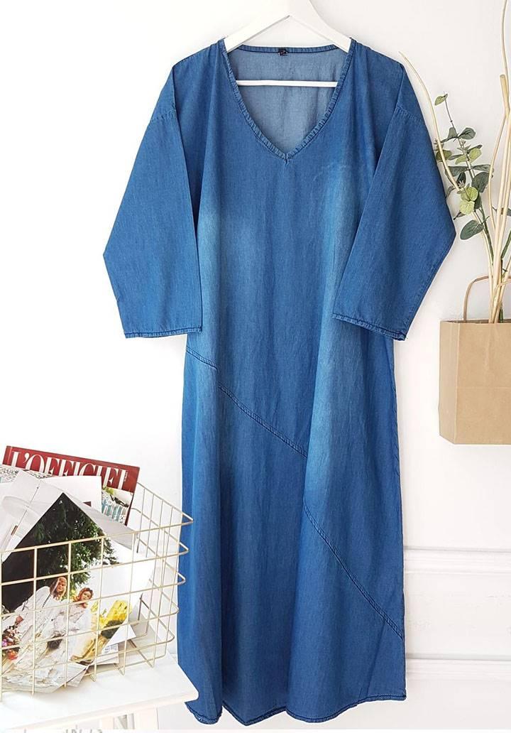 V yaka yeni sezon jean elbise - 3