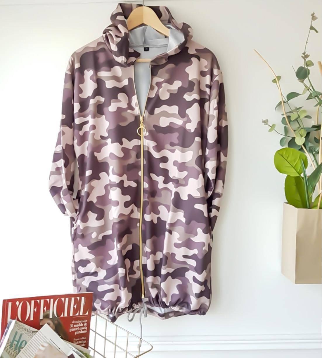 Kapşonlu kamuflaj desen hırka-ceket(yeşil) - 3